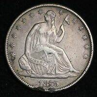 1875 CC SEATED LIBERTY HALF DOLLAR DETAILS XF  E309 KPM