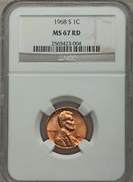 1968 S LINCOLN CENT NGC MS67 RD   SUPERB REGISTRY GEM 23 004