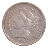 1865 NICKEL THREE CENT PIECE J64