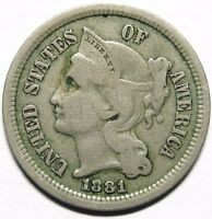 1881 THREE CENT NICKEL 3C