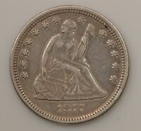 1877 LIBERTY SEATED QUARTER DOLLAR VARIETY 4 G11