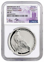 2017 P 1 OZ SILVER WEDGE TAILED EAGLE DENVER ANA 2017 NGC MS70 MERCANTI SKU48653