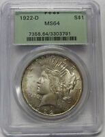 BEAUTIFUL LIGHTLY TONED 1922 D SILVER PEACE DOLLAR GRADED MS64 BY PCGS    3791