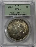 BEAUTIFUL LIGHTLY TONED 1922 D SILVER PEACE DOLLAR GRADED MS64 BY PCGS    1334