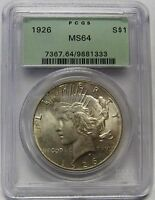 BEAUTIFUL LIGHTLY TONED 1926 SILVER PEACE DOLLAR GRADED MS64 BY PCGS    1333
