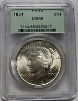 BEAUTIFUL LUSTEROUS 1924 SILVER PEACE DOLLAR GRADED MS65 BY PCGS    0947