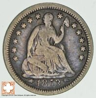 1853 SEATED LIBERTY SILVER HALF DIME 0887