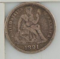1891 SEATED LIBERTY DIME Z77