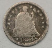 1854-P SEATED LIBERTY ARROWS AT DATE SILVER HALF DIME Q76