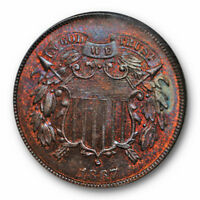 1867 2C TWO CENT PIECE NGC MINT STATE 65 RB UNCIRCULATED TONED BEAUTY  GORGEOUS