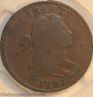 1797 S120B R2 DRAPED BUST LARGE CENT PCGS F15 GRIPPED EDGE