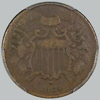 1864 2C SMALL MOTTO - KEY DATE, CORROSION, COUNTERSTAMP, PCGS VG DETAILS -