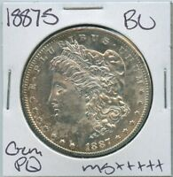 1887-S MORGAN DOLLAR UNCIRCULATED US MINT GEM PQ SILVER COIN BU UNC MS