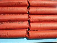 LINCOLN  WHEAT PENNIES 10 FULL ROLLS 1930'S MIXED 1940S D AND P 1950S D AND P