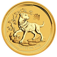 2018 P AUSTRALIA YEAR OF THE DOG 1/20 OZ GOLD LUNAR  S2  $5 COIN GEM BU SKU49081