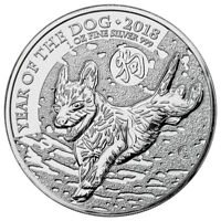 2018 GREAT BRITAIN YEAR OF THE DOG 1 OZ SILVER LUNAR 2 COIN BU IN CAPS SKU49502