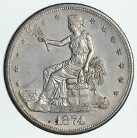 1874 S SEATED LIBERTY SILVER TRADE DOLLAR NEAR UNCIRCULATED  2734