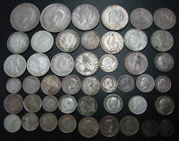 NICE ASSORTED LOT OF  46  SILVER FOREIGN COINS   SOME NICE