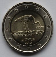 LATVIA   2  EURO COMMEMORATIVE COIN 2015   STORK UNCIRCULATED COIN FROM ROLL