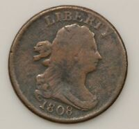 1808 DRAPED BUST  NORMAL DATE/ 180 DEGREES ROTATED REVERSE  HALF CENT  G88