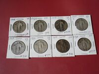 EIGHT STANDING LIBERTY QUARTERS 1928 1929 1929 1929 S 1930 1929 1929 1929