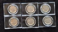 A NICE GROUP OF 6 BUFFALO NICKELS IN  CRYSTAL CLEAR CASES BLOCKS. SUPER NICE