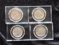 A NICE GROUP OF 4 BUFFALO NICKELS IN  CRYSTAL CLEAR CASES BLOCKS. SUPER NICE