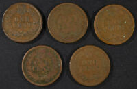5- INDIAN HEAD CENTS: 1874G/VG, 1875G/VG, 1875VG, 1875EXTRA FINE  & 1868 G/VG