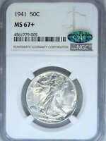 1941 WALKING LIBERTY HALF DOLLAR NGC MINT STATE 67 CAC BLAST WHITE SUPER LUSTER PQ 41M