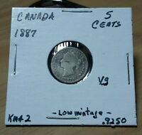 CANADA 1887  5 CENTS VG CONDITION KM2 ONLY  500 000 MADE LOOK & DID BUY IT