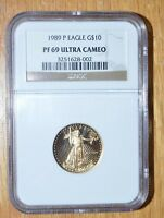 1989 P $10 1/4TH AMERICAN PROOF GOLD EAGLE   NGC PF 69   ULTRA CAMEO