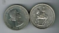 1953 AND 1960 FIVE SHILLING 25P CROWN COINS   CORONATION & N