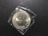 1982 SINGAPORE LARGE $1 COIN UNC WITH FULL LUSTER