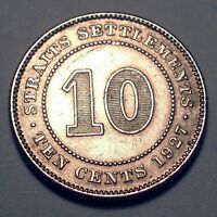 STRAITS SETTLEMENTS BRITISH CROWN COLONY 10 CENTS 1927 SILVE