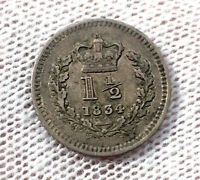 GREAT BRITAIN 1 1/2 PENCE 1834 MAUNDY