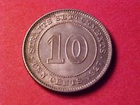 STRAITS SETTLEMENTS 10 CENTS SILVER 1927 TONED BU GEORGE V