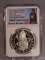 2017 THE QUEENS BEAST THE LION OF ENGLAND 1 OZ SILVER PROOF
