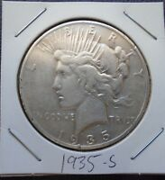1935 S PEACE SILVER DOLLAR   F DETAILS   SEMI KEY DATE   PITTED.