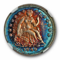 1849/8 RPD SEATED HALF DIME FS 301 NGC MS 64   MONSTER TONED BEAUTY