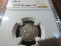 1862/2 DOUBLE 2 10 CENTS NEW BRUNSWICK GRADED NGC AU58 HIGHEST GRADE BY NGC