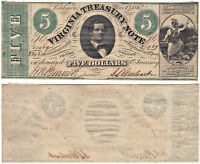 1862 $5 VIRGINIA TREASURY NOTE OBSOLETE CURRENCY AU