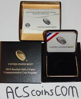 2014 W BASEBALL HALL OF FAME PROOF GOLD COIN OGP PACKAGING   COA & BOX NO COIN