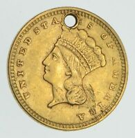 1856 INDIAN PRINCESS HEAD GOLD DOLLAR  CONDITION: HOLE  4262