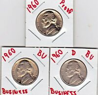 1960 P  P  & D JEFFERSON NICKELS IN BU AND PROOF CONDITION  3 COINS