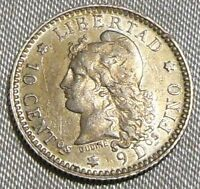 VINTAGE 1883 ARGENTINA 10 CENTAVOS SILVER COIN   CAPPED LIBERTY HEAD