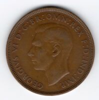 GREAT BRITAIN GEORGE VI PENNY 1D 1938 NICE COIN R40788