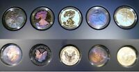 2011 25TH ANNIVERSARY 5 COIN SILVER EAGLE SET THREE WITH MONSTER TONING