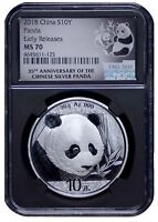 2018 CHINA 10 YUAN SILVER PANDA NGC MS70   EARLY RELEASES   35TH ANNIV BLACK