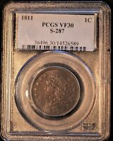 1811 1C LARGE CENT CLASSIC HEAD S 287 R2  FINE 30 PCGS. REALLY NICE