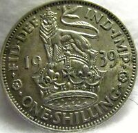 1939 GREAT BRITAIN SILVER SHILLING   EXCELLENT CONDITION   K